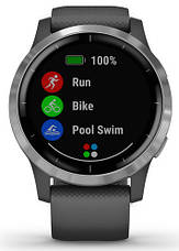 Смарт-годинник Garmin Vivoactive 4 Silver Stainless Steel Bezel with Shadow Gray Case and Silicone Band, фото 2