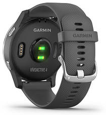 Смарт-годинник Garmin Vivoactive 4 Silver Stainless Steel Bezel with Shadow Gray Case and Silicone Band, фото 3
