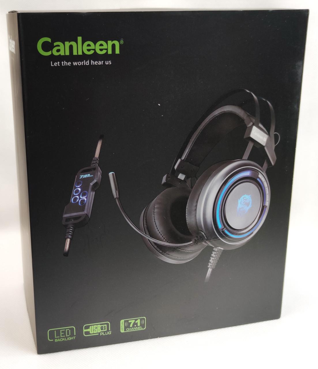 Игровые наушники с микрофоном LED подсветка USB геймерские для компьютера ПК игр черные звук 7.1 Canleen K28U
