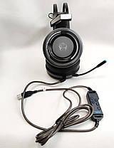 Игровые наушники с микрофоном LED подсветка USB геймерские для компьютера ПК игр черные звук 7.1 Canleen K28U, фото 3