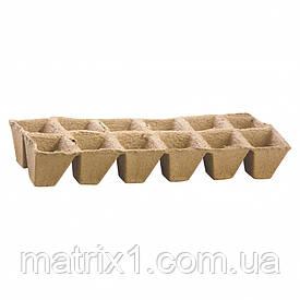 Касета для розсади 310 х 100 х 50 мм, 12 клітинок, торф'яна, 5 шт.