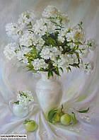 Картина маслом Флоксы и яблоки