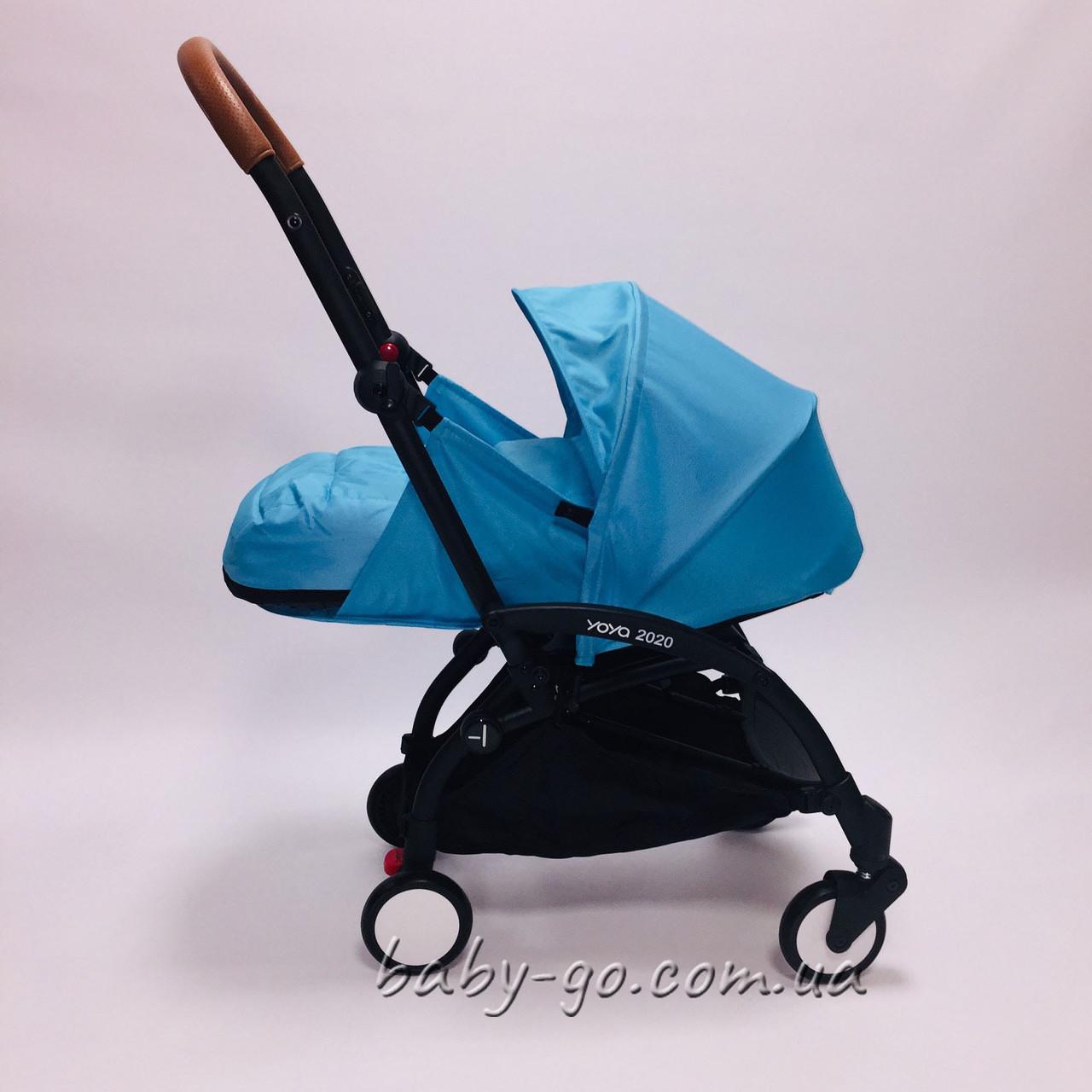 Коляска YOYA 2020 175 + блок для новорожденных Голубая