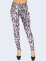 Лосины женские Леопард розовый. Размер 40 - 50