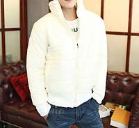 Стильная весенняя мужская куртка на молнии (Белый цвет).Размер 48,50,52