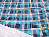 Трикотаж с начесом Клетка (голубой) (арт. 051083)