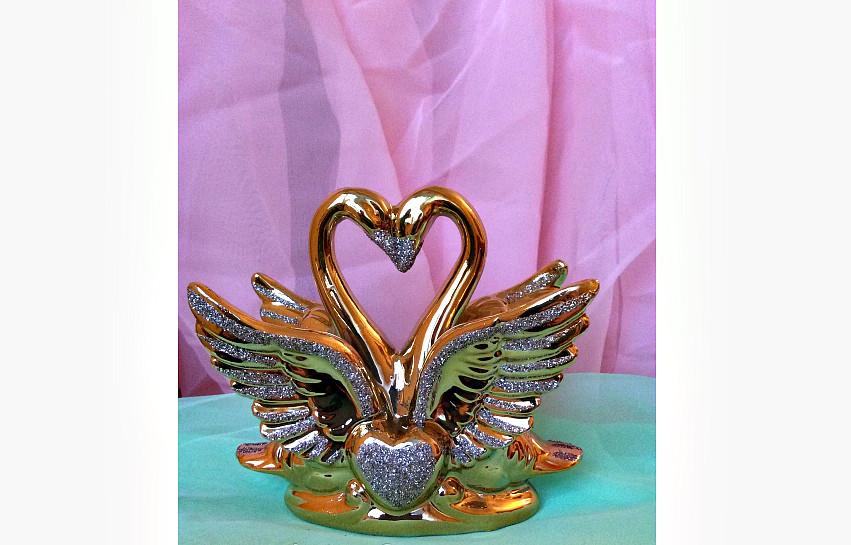 Статуэтка фарфор Лебедь (золото), высота 12 см.