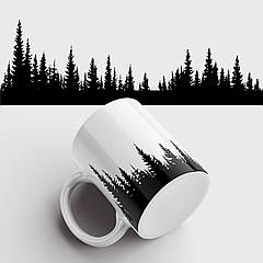 Кружка з принтом Контури лісу. Чашка з фото