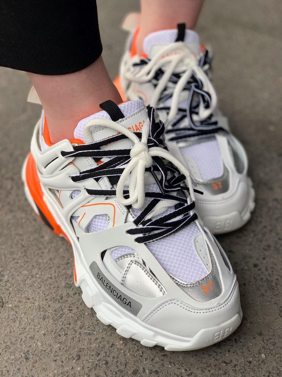 Женские Кроссовки Balenciaga Track White Orange Баленсиага Трек