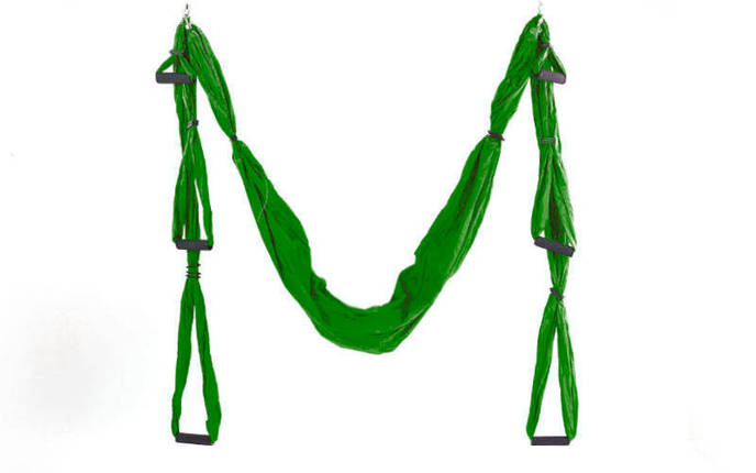 Гамак для йоги с ручками Antigravity Yoga FI-5323 красный зеленый, фото 2
