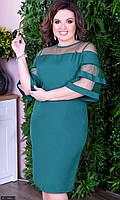 Платье вечернее большого размера  8512489-3 изумруд