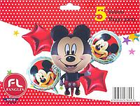 Набор фольгированных шаров Микки Маус ростовой, (5 шаров).