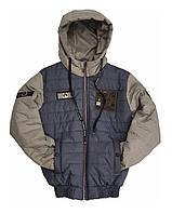 Куртка подростковая демисезонная короткая для мальчика, цвет Джинс, размеры 140 - 170, модель Тарас,