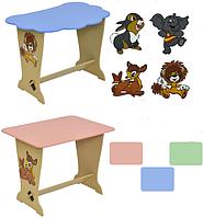 Стол парта квадрат, голубой, с зайчиком, 45*45*65см, ТМ Мася