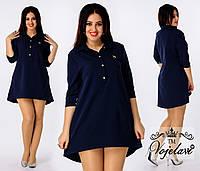 Короткое ассиметричное платье-туника больших размеров с пуговицами на груди р.48-54. Арт-3085/41, фото 1