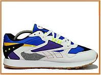 Мужские кроссовки Reebok Classic Blue White (рибок классик, синие / белые)