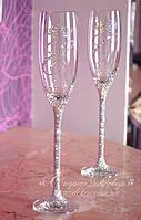 Свадебные бокалы с инициалами и коронами в стразах (Классик), фото 1