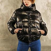 Куртка женская дутая короткая черная, пуховик демисезонный