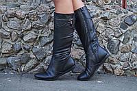 Черные женские кожаные сапоги . Арт-0203