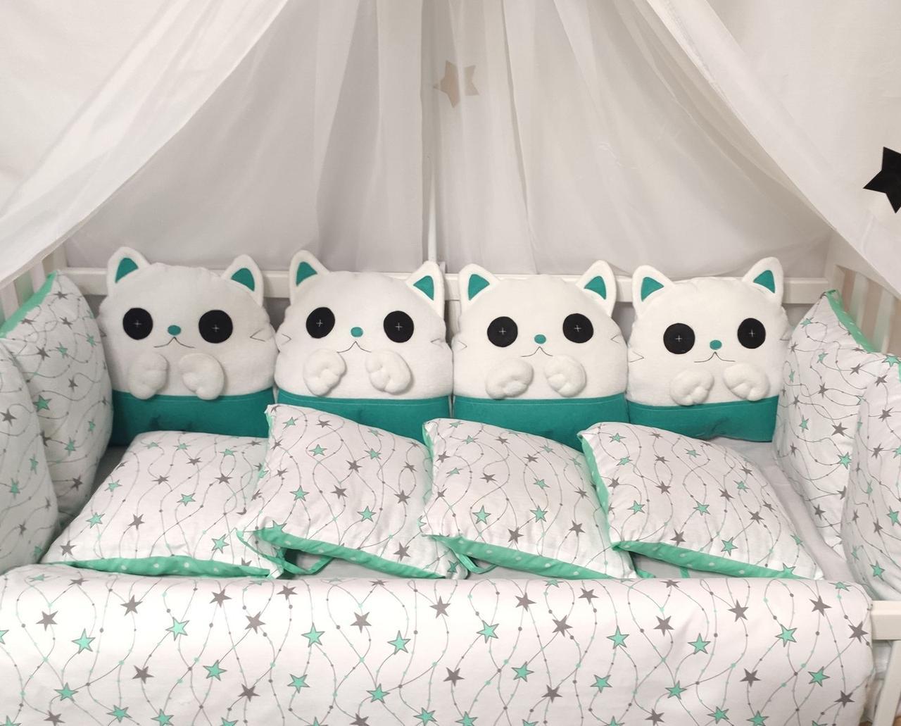 Детский постельный комплект в кроватку Котики