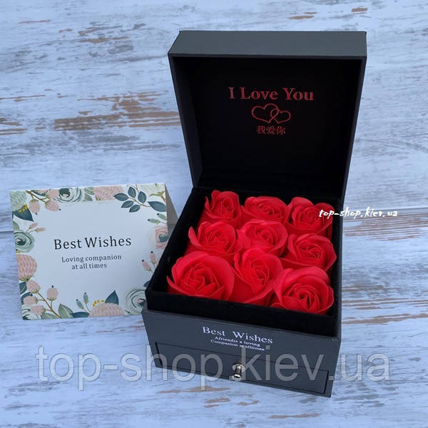 Подарочный набор мыло из роз в коробке с украшениями
