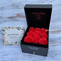 Подарочный набор мыло из роз в коробке с украшениями, фото 1