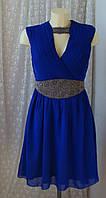 Платье женское шикарное вечернее нарядное синее декор бренд Little Mistress р.42 3865