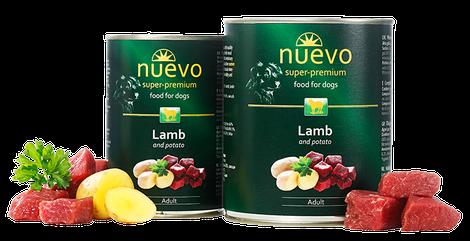 Блок консервированного корма для собак с ягненком и картофелем Nuevo Adult 6*400 г