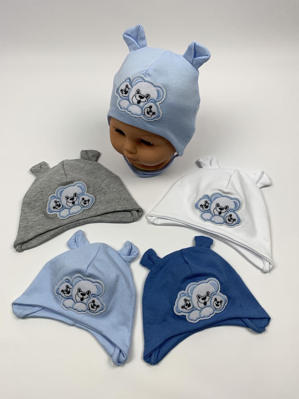 Детские польские демисезонные трикотажные шапки на завязках для мальчиков оптом, р.36-38 40-42, Ala Baby ab162