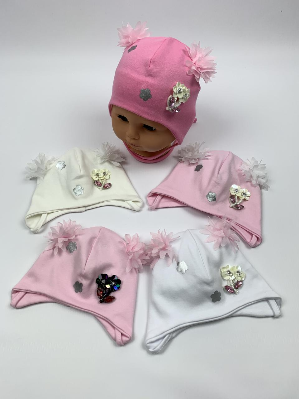 Детские польские демисезонные трикотажные шапки на завязках для девочек оптом, р.36-38 40-42, Ala Baby ab165