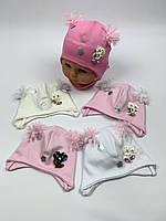 Детские польские демисезонные трикотажные шапки на завязках для девочек оптом, р.36-38 40-42, Ala Baby ab165, фото 1