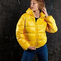 Куртка женская дутая короткая желтая, пуховик демисезонный