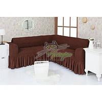 Натяжной чехол-накидка на угловой диван с рюшами Concordia 201 шоколад