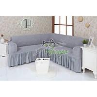 Натяжной чехол-накидка на угловой диван с рюшами Concordia 216 серый