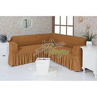Натяжной чехол-накидка на угловой диван с рюшами Concordia 219 горчица