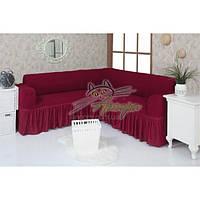 Натяжной чехол-накидка на угловой диван с рюшами Concordia 221 бордо