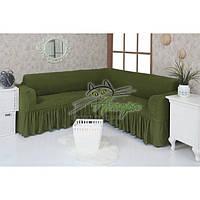 Натяжной чехол-накидка на угловой диван с рюшами Concordia 222 зеленый