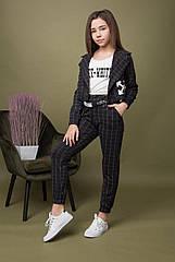 Стильный подростковый комплект для девочек -брюки топ жакет Размер 140