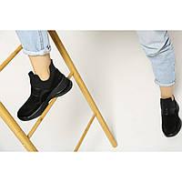 Замшевые женские демисезонные ботинки на массивной подошве