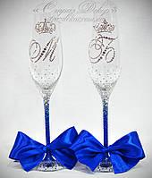 Свадебные бокалы омбре с инициалами и коронами в стразах (Тюльпаны), фото 1