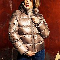 Куртка женская дутая короткая бежевая, пуховик демисезонный