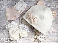 Літній комплектшапка+носочки для новонародженого малюка