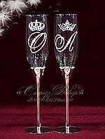 Свадебные бокалы на металлической ножке с инициалами в стразах, фото 1