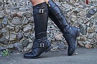 Женские кожаные черные сапоги. Арт-0204
