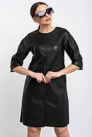 Модное кожаное платье свободного кроя Мэдисон 42-52 размеры черное