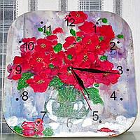 Часы настенные, часы на кухню, ручная работа,цветы, шеби шик,часы бесшумные