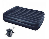 Надувная двухспальная кровать-матрас Bestway 67345 с электрическим насосом 220V (203*163*48)