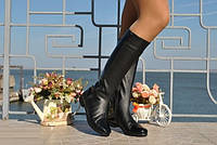 Сапоги женские кожаные черные . Арт-0205