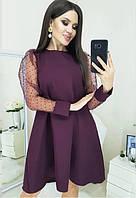 Нарядное платье с прозрачными рукавами
