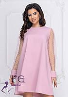 Пудровое женское платье свободного кроя